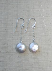white high luster freshwater coin pearl drop earrings