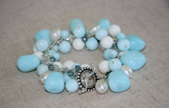 peruvian blue opal chunky nuggets, white coral, white freshwater pearls & montana blue swarovski crystals bracelet with sterling silver toggle clasp
