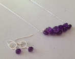 amythest onion cut necklace & matching earrings